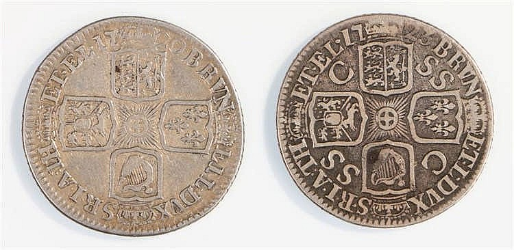 George I Shillings, 1720 and 1723, (2) - Stock Ref:2315-72