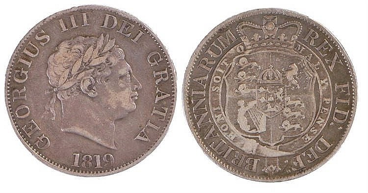 George III Half Crown, 1819, small head - Stock Ref:2315-49