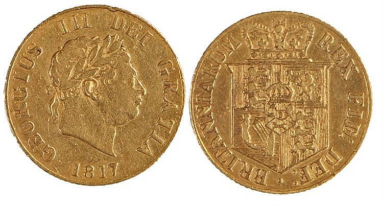George III Half Sovereign, 1817, Shield back - Stock Ref:2315-60