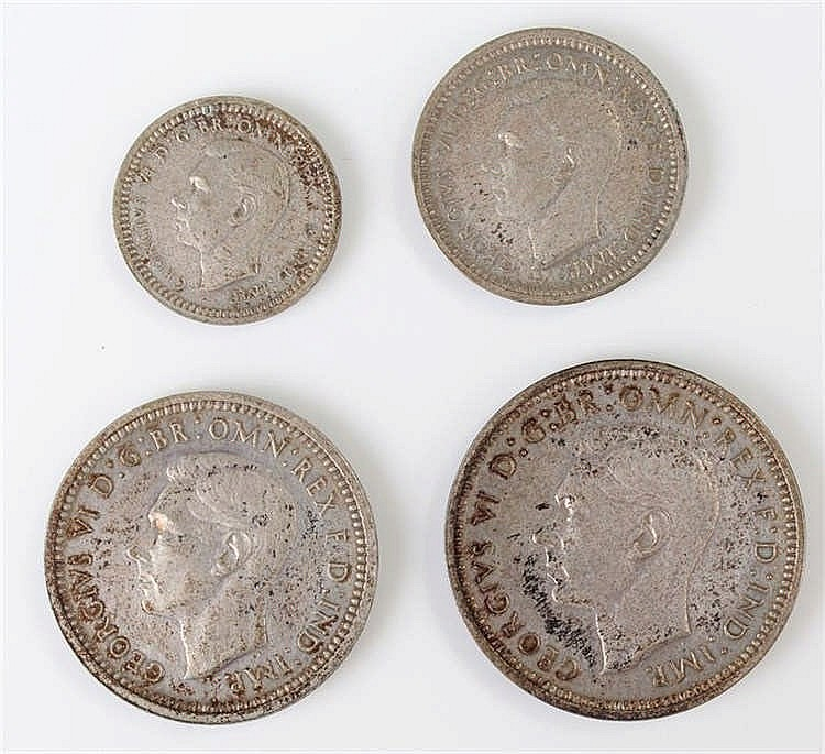 George VI Maundy set, four Pence to One Pence, held within a Maundy paper w