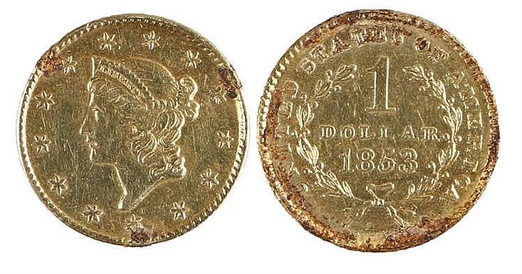 USA One Dollar, 1853, gold 1 Dollar - Stock Ref:1972-27