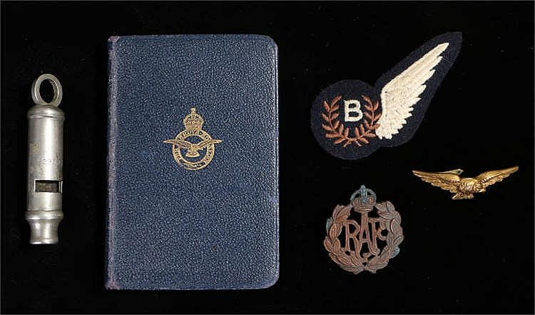 RAF World War Two Air Ministry whistle, bible signed by the RAF Chaplin, ha