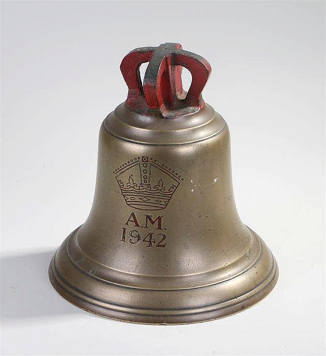World War Two Air Ministry scramble bell with pierced crown form pediment,