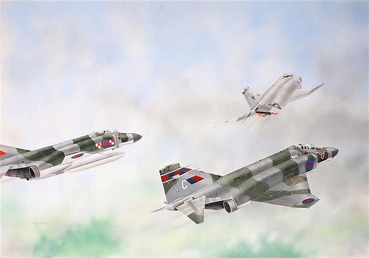 Original book illustration, by M Keep, of three jet fighters in flight, 59c