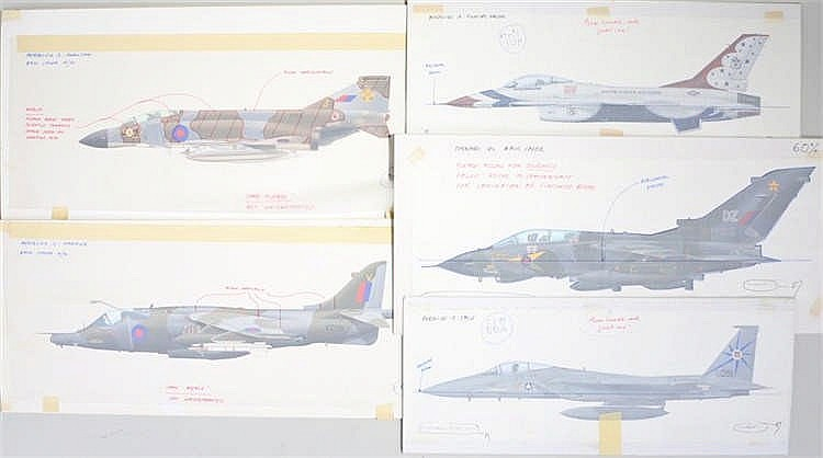 Original book illustrations for Aeroplane book Airguide, by M Keep, to incl