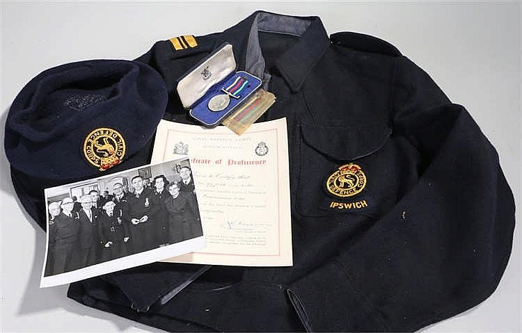 Ipswich Civil Defence Corps dress Jacket, Beret, long service medal and cer