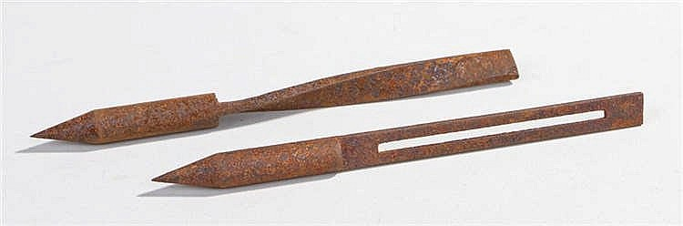 Two World War One German fletchet darts in different patterns as dropped ov