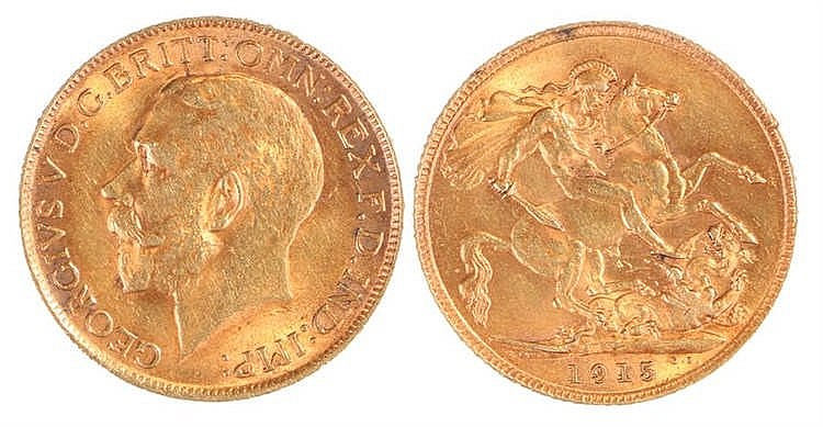 George V Sovereign, 1915, St George and the Dragon - Stock Ref:4887-6