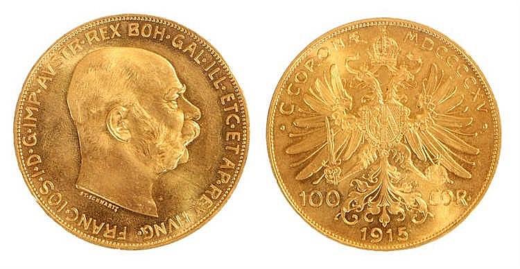 Austria 100 Corona, gold 1915 re strike coin - Stock Ref:2315-32