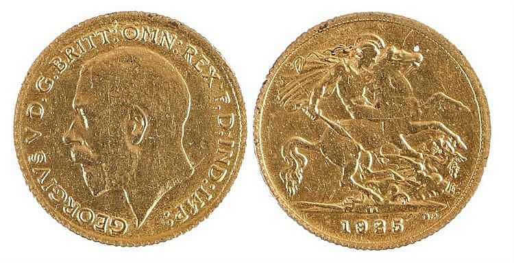 George V Half Sovereign, 1925, mint mark SA South Africa, St George and th