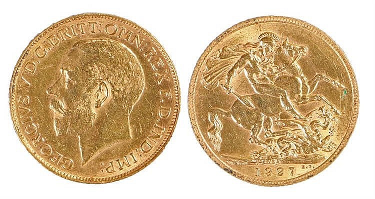 George V South African Sovereign, 1927, St George and the Dragon - Stock Re