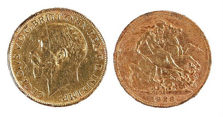 George V Sovereign, 1928, mint mark SA South Africa, St George and the Drag