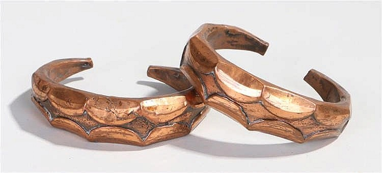 Two early 20th Century copper African bracelets with thumb nail design, int