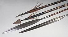 Two African spears, with long steel blades, together with two later spears,