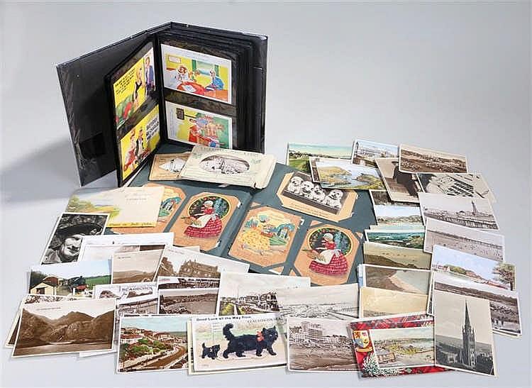 Album containing cartoon postcards, album containing Birthday wishes cards