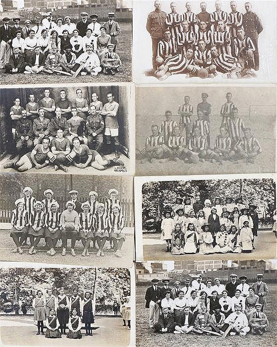 Postcards, to include football teams with a Ladies football team, pantomime