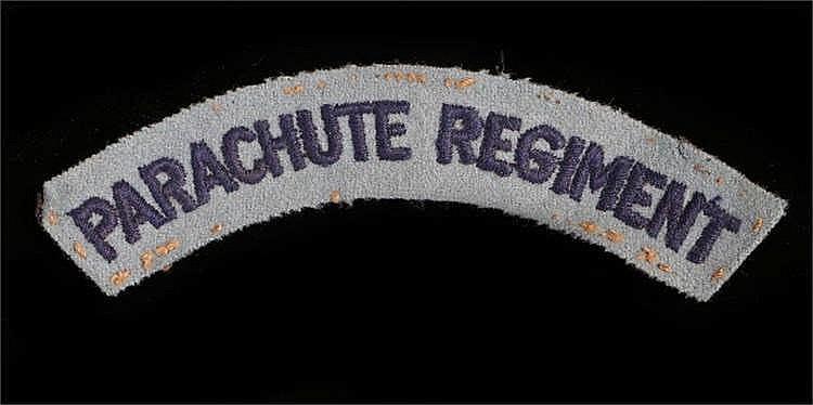 World War Two British Parachute Regiment embroidered shoulder title, remove