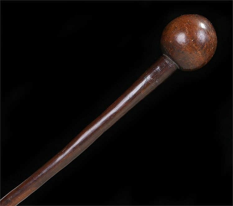 Late 19th Century Zulu knobkerrie of conventional form with script to the k