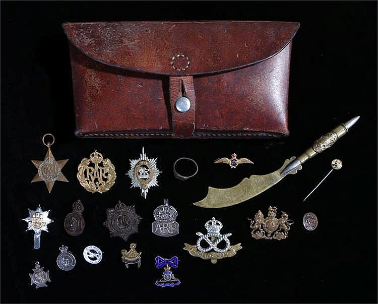 Militaria, to include a silver ARP badge, silver Army Reserve badge, Royal