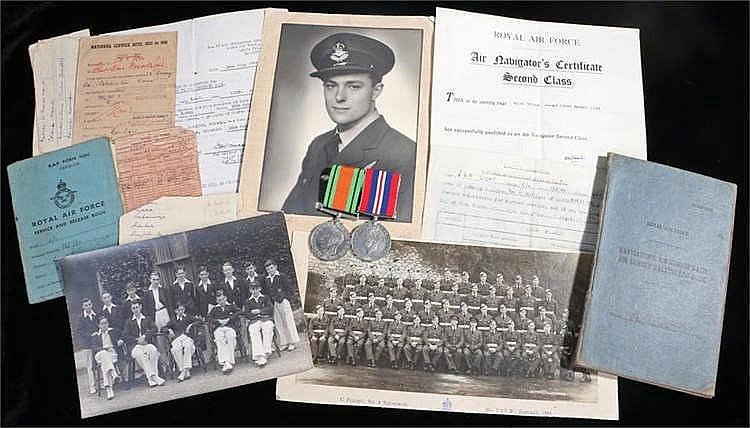 RAF navigators log book, Defence & War medals, documents, certificates, pho