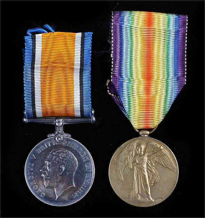 World War One officers British War Medal & Victory medals to Lieut GB Thomp