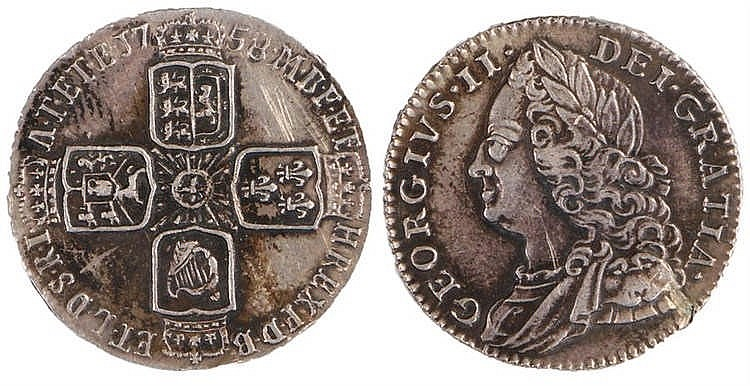 George II Sixpence, 1758 - Stock Ref:2315-70