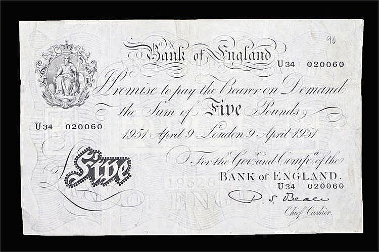 Bank of England White £5 note, April 9 1951, U34 020060, Cashier P.S.Beale