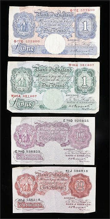 Peppiatt Banknotes, to include blue £1 O77E 577600, green £1 W98A 381407, p