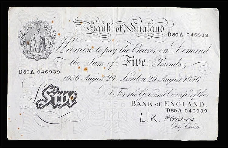 Bank of England White £5 banknote, August 29 1956, D80A 046939 - Stock Ref: