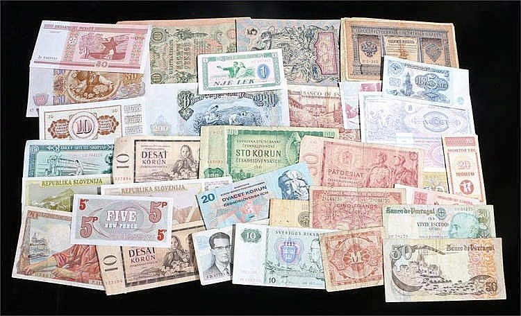Banknotes, a collection of European banknotes, Armed Forces, Belgium, Portu