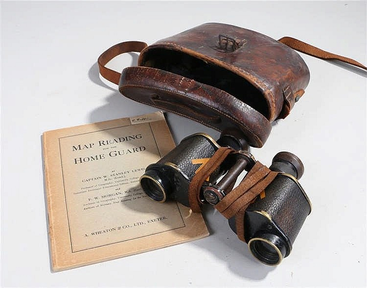 Pair of World War Two binoculars by Kershaw & Son Ltd Leeds in a brown leat