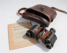 Pair of World War Two binoculars by Kershaw & Son Ltd Leeds in a brown leat