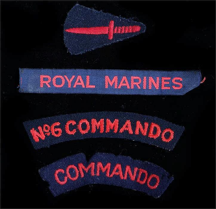 World War Two British embroidered Number 6 Commando shoulder title, togethe