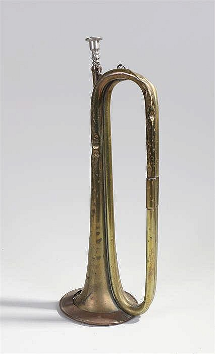 British army E flat cavalry trumpet, dated 1938 and stamped Higham Premier,