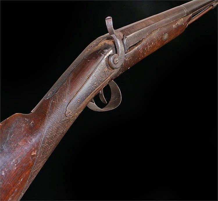 19th Century single barrel shot gun, percussion firing, lock plate engraved