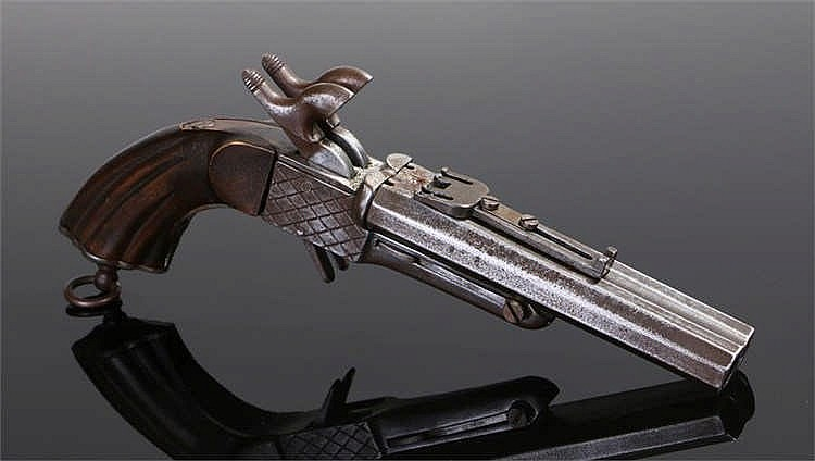 19th Century pin fire double barreled side by side travelling pistol fitted