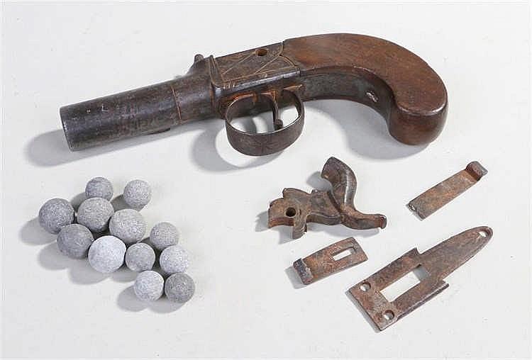 19th Century percussion box lock pocket pistol, maker Cocksedge, Hadleigh,