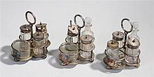Three RAF silver plated Mess cruet sets, each with an RAF badge to the fron