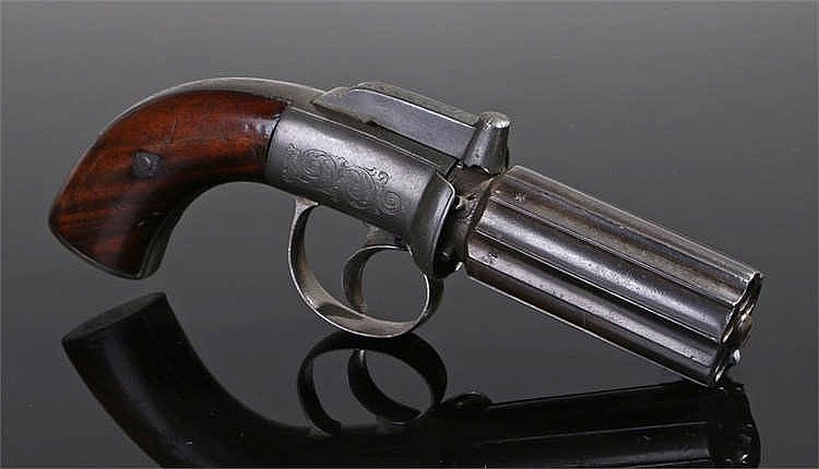 19th century pepper box revolver, the frame and trigger guard with acanthus