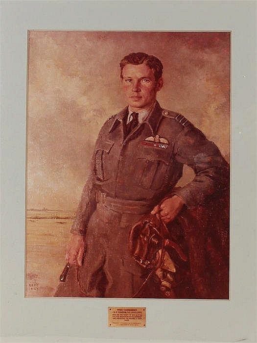 Photograph of a painting of Wing Commander G P Gibson VC DSO DFC of Squadr