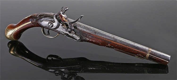 18th century Turkish long barrel flintlock pistol with engraved barrel and