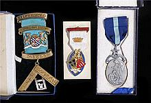 Three Masonic medals comprising a Skelmersdale silver gilt medal, a Royal M