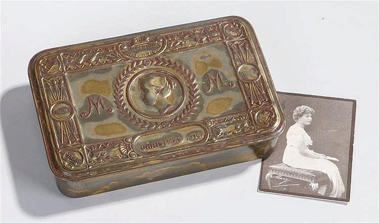 1914 Christmas tin, of typical form, together with a picture of Queen Mary