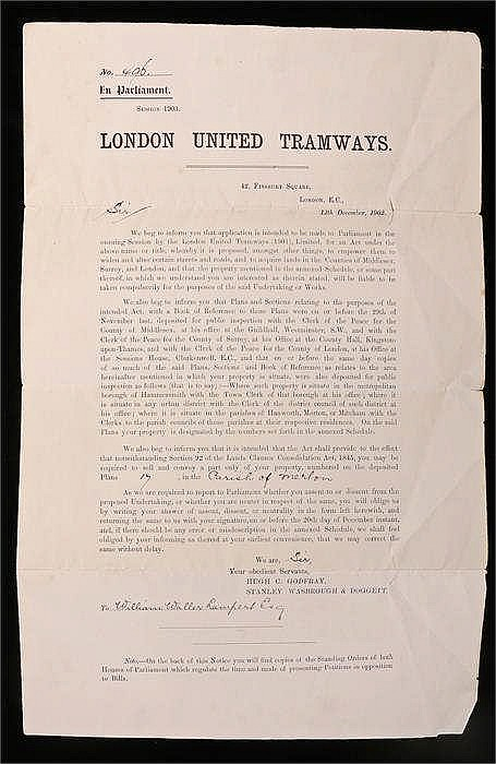 Parliament 1906 London United Tramways notice of compulsory order in Merton