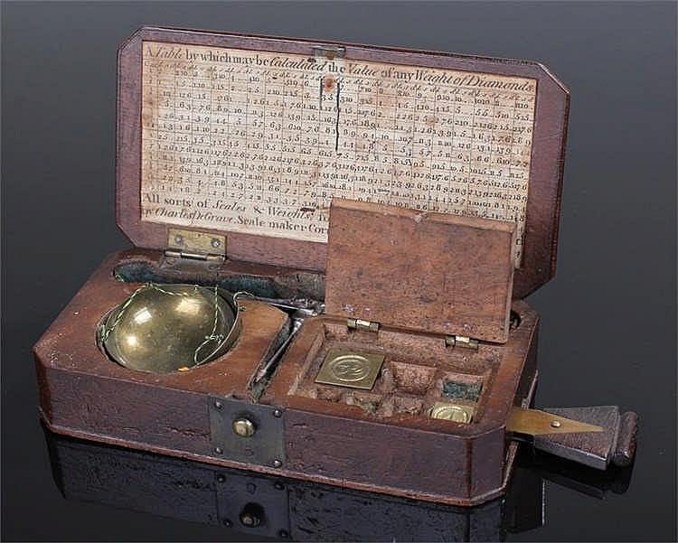 18th Century Charles De Grave diamond scales, circa 1750, the mahogany box