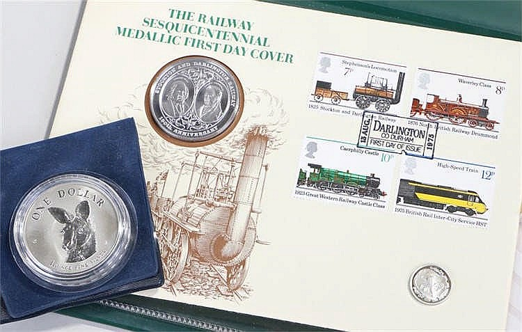 Silver proof coins, to include The Railway first day cover, Isle of Man 1/2
