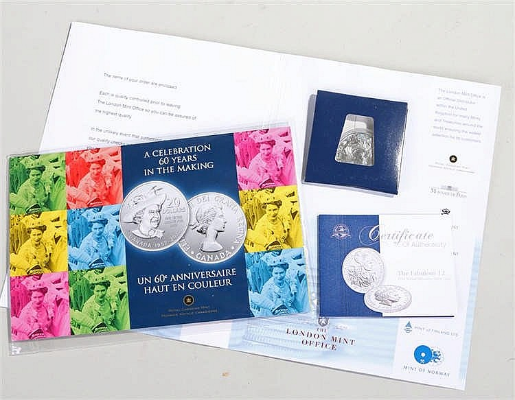 Two silver proof coins, to include 60 years in the making Canada 20 Dollars