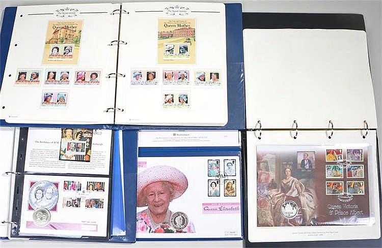 Three Royalty coin and stamp albums and a Queen Mother silver proof coin co