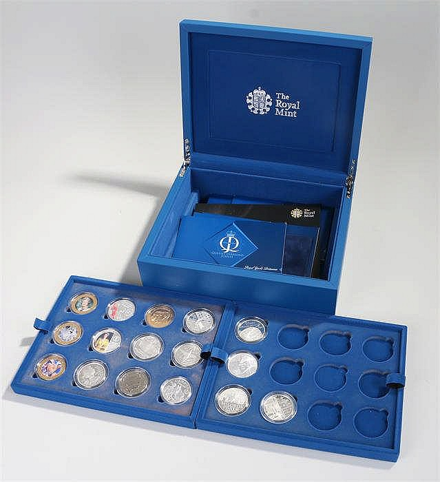Royal Diamond Jubilee Royal Mint coin part set, containing sixteen coins wi