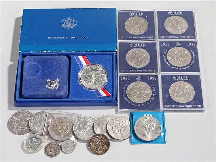 Collection of coins, to include the cased United States Liberty Coin struck